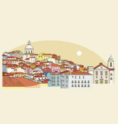 Lisbon cityscape view vector
