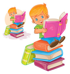Little boy is sitting on a pile of books and vector