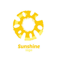 Logo sunshine with element watercolor vector