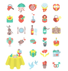 Love and Dating Flat Icons vector
