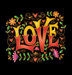love hand drawn lettering hand drawn vector image