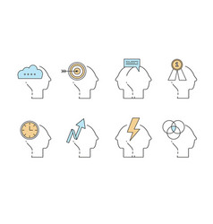 man head mind thinking icon set business vector image