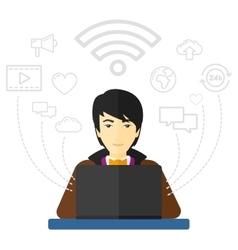 Man working on laptop vector