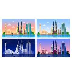 Manama bahrain panoramic view vector