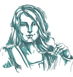 Monochrome hand-drawn art image young woman holds vector image
