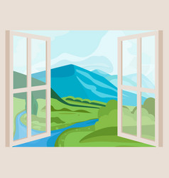 Mountain peaks and river open window with a vector
