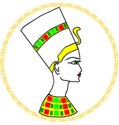 Nefertiti portrait in frame vector