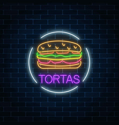 Neon glowing sign of tortas in circle frame vector