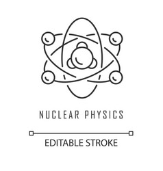 Nuclear physics linear icon atomic structure vector