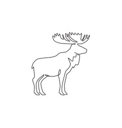 one single line drawing big moose for logo vector image