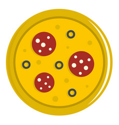 Pizza with sausage and olives icon isolated vector