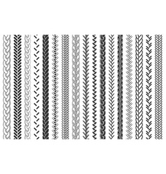Plait and braids pattern brushes set vector