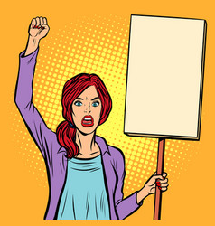 Pop art woman protesting with a poster political vector