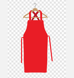 Red kitchen apron chef uniform for cooking vector