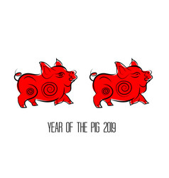 Red pig zodiac isolate on white background year vector