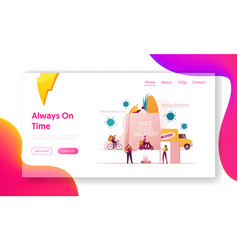 Safe food delivery landing page template courier vector