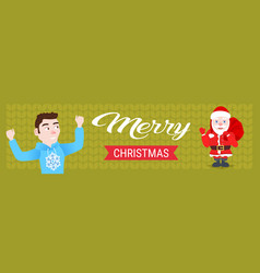 santa claus hold sack surprise for man happy new vector image