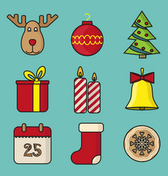 set christmas toys in flat style vector image