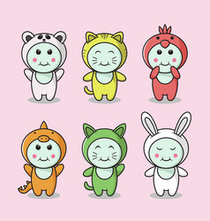 set cute animals characters vector image