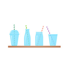 set drinking glasses isolated graphic vector image
