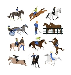 Set horse riders icons flat design vector