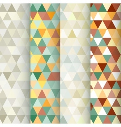 Set of 4 triangle geometric seamless patterns vector image