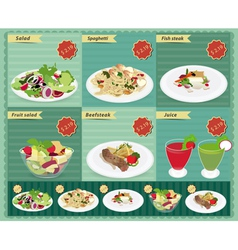 Set of food menu retro style template vector