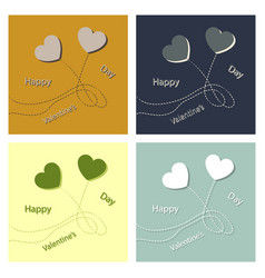 set of valentines day vintage lettering background vector image