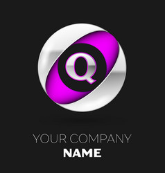 silver letter q logo in the silver-purple circle vector image