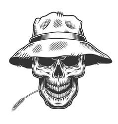 skull in straw hat vector image