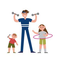 Smiling father with his daughter and son doing vector