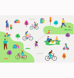 Summer outdoor scene - active family vacation vector