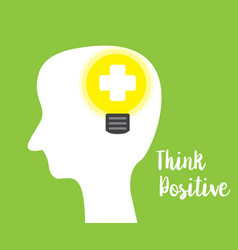 think positive concept green background vector image