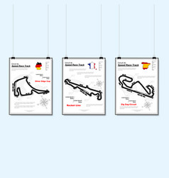 three speed race track placards vector image
