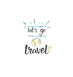 travel lettering quote icon hand drawn holiday vector image