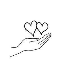 Two heart in love in your hand strong family icon vector