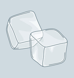 two ice cubes set on white background vector image