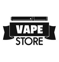 Vape store ribbon logo simple style vector