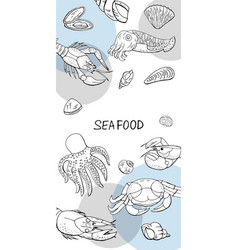 Vertical banner with seafood collection for cafe vector