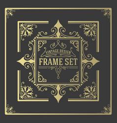 Vintage set frames template boroque borders vector