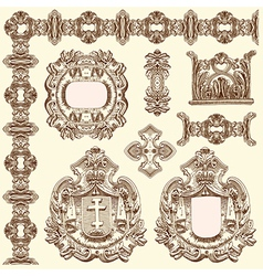 Vintage sketch ornamental design element vector