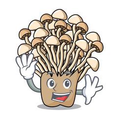 Waving enoki mushroom character cartoon vector