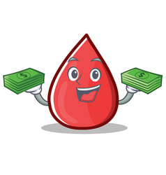 With money blood drop cartoon mascot character vector