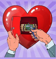 Womans heart bomb disposal pop art vector