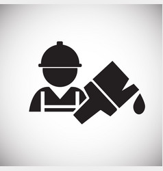 worker with paint brush on white background vector image