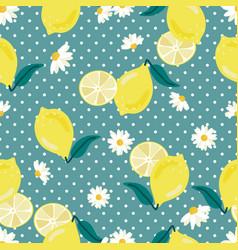 yellow lemon on polka dot background seamless vector image