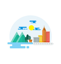 countryside and city landscape flat design vector image