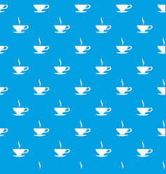 cup of tea pattern seamless blue vector image vector image