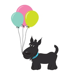 Cute cartoon dog with balloons vector image