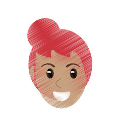 drawing head face female image vector image